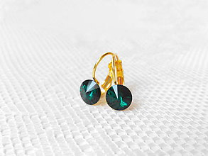 Náušnice - Emerald earrings (24k Gold plated earrings / Swarovski crystal) - 5833571_