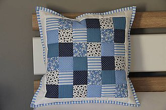 Úžitkový textil - vankúš 40 x 40 cm bielo - modrý 40x40cm - 5833844_