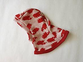 92d018808 Detské čiapky - Merino kukla červený ježko - veľkosť 44 - 5837868_