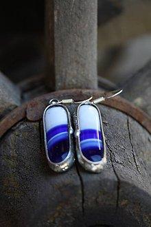 Náušnice - Blue and white strips - 5837618_