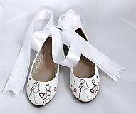 Obuv - svadobné baleriny so stuhou - 5835179_