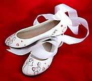 Obuv - svadobné baleriny so stuhou - 5835180_