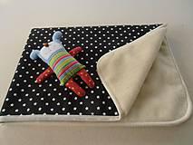 Textil - Deka / prikrývka Čierno-biela HVIEZDA s merinom - 5837951_