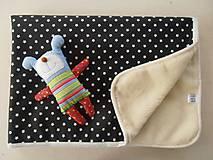 Textil - Deka / prikrývka Čierno-biela HVIEZDA s merinom - 5837952_
