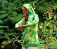 Mikiny - Dámska mikina s kapucou batikovaná a maľovaná STROMULIENKA - 5834841_