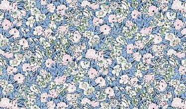 Textil - Bledomodrá látka s malými kvietkami - 5837675_