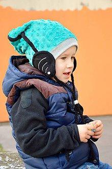 Detské čiapky - Wifi čiapka -tyrkis & oceán zimná - 5838013_