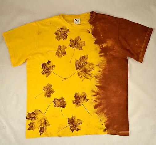 Žluto-hnědé batikované triko s listy L