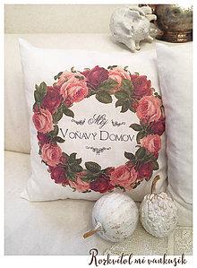Úžitkový textil - Vankúš a jeho ružový venček - 5841132_