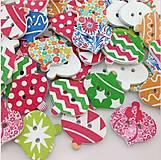 Korálky - drevený gombík vianočná ozdoba - 5838552_