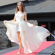 4c1085e15fb1 Šaty - Svadobné šaty s vyšívaným tylovým živôtikom a šifónovou sukňou -  5840936