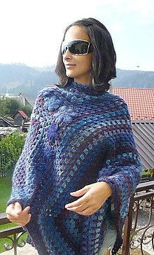 Iné oblečenie - Pončo Modrofialové s fialkami - 5839808_
