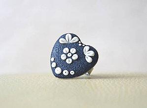 Prstene - Folk prsteň - srdiečko modré - 5842639_
