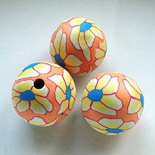 Korálky - FIMO 22mm-1ks (oranž/žltá) - 5844329_
