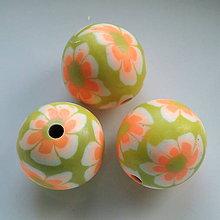 Korálky - FIMO 22mm-1ks (oranž/sv.zelená) - 5844331_