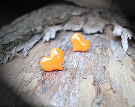 Náušnice - Srdiečka 10 mm (oranžové) - 5842141_