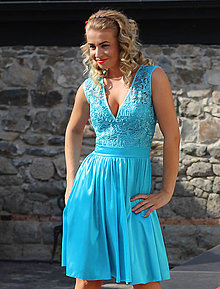 Šaty - Vintage šaty z hrubej krajky a A-čkovou sukňou - 5842273_
