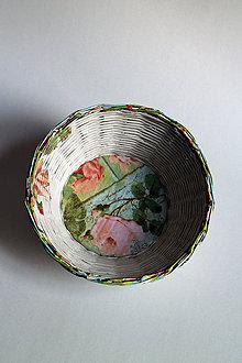 Košíky - Košík papierový - Ruža zelená - 5842363_