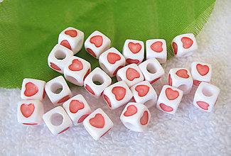 Korálky - Korálky srdiečka kocky (balíček 10ks) - 5844144_