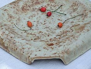 Nádoby - Keramická misa na koláče béžová štvorcová - 5847393_