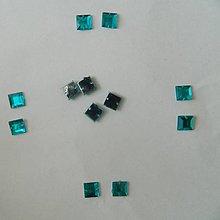 Iný materiál - Našívacie kamienky štvorec 8mm tyrkys - 5847388_