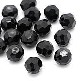 Plastové korálky čierne brúsené 8mm (balíček 100ks)