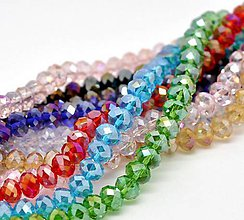 Korálky - Brúsené sklenené korálky 8x6mm (balíček 50ks) - 5847684_