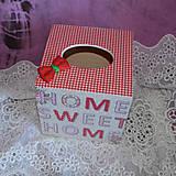 Krabičky - ZÁSOBNÍK NA VRECKOVKY kocka (HOME SWEET HOME) - 5851060_