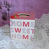 Krabičky - ZÁSOBNÍK NA VRECKOVKY kocka (HOME SWEET HOME) - 5851063_