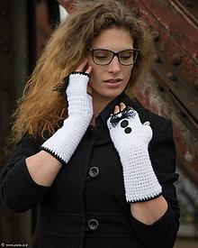 Rukavice - Bezprstové rukavice Bielo-čierne...SUPER CENA - 5852654_