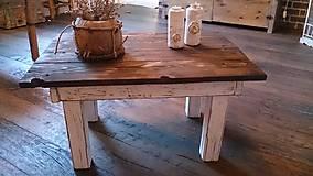 Nábytok - Bielo - drevený konferenčný stolík - 5852845_