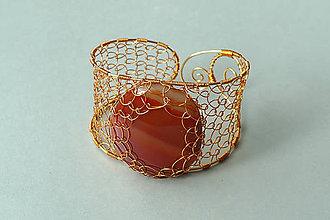 Náramky - náramok - medená čipka s achátom - 5850652_