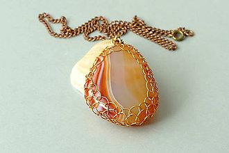 Náhrdelníky - náhrdelník - medená čipka s achátom - 5850720_