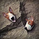 Náušnice - Náušnice podľa fotografie psa - bulteriér - 5851700_