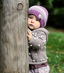 Detské čiapky - Merino čepička fialovo růžová - 5849032_