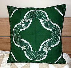 Úžitkový textil - Patchworková návliečka - zelená. - 5850171_