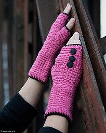 Rukavice - Bezprstové rukavice Ružovo-čierne...SUPER CENA :) - 5853742_