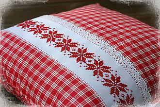 Úžitkový textil - červené káro - 5854512_