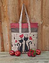 - Nákupná taška mačičky a noty - 5854232_