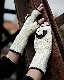 Rukavice - Bezprstové rukavice Ivory Love + čelenka ako darček...SUPER CENA - 5859142_