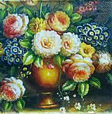 - S484 - Servítky - vintage obraz, kvety, váza - 5859944_