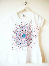 - tričko biele s farebnou mandalou - XS - 5857605_