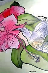 """Úžitkový textil - Vankúš hodvábny  """"kolibrík"""" - 5857755_"""