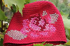 Čiapky - ruženka červená - 5859839_