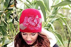 Čiapky - ruženka červená - 5859840_
