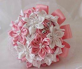 Kytice pre nevestu - Svadobná látková kytica bielo-ružová - 5859774_