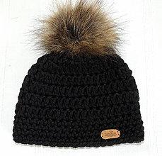 Detské čiapky - Teplučká s kožušinovým brmbolcom - 5857794_