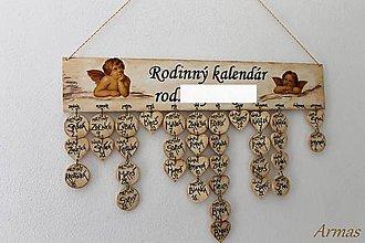 Dekorácie - Drevený rodinný kalendár - 5864865_