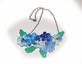 Náhrdelníky - blue flowers -kvetinový náhrdelník - 5864630_