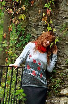 Tričká - Dámske tričko batikované a maľované JARABINKA - 5861577_